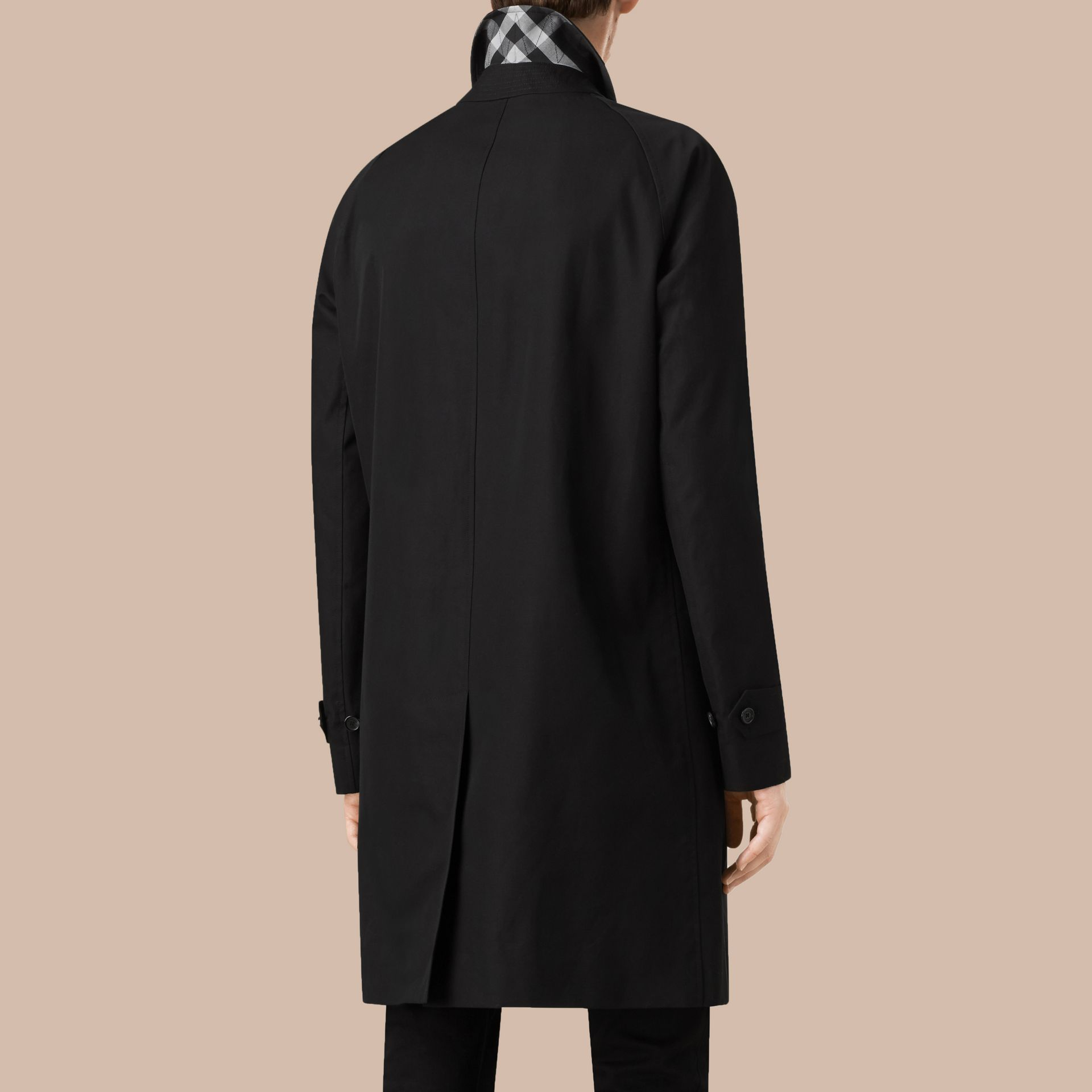 Long Cotton Gabardine Car Coat in Black - gallery image 3