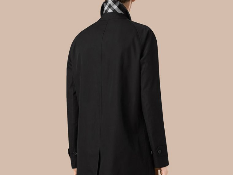 Long Cotton Gabardine Car Coat in Black - cell image 2