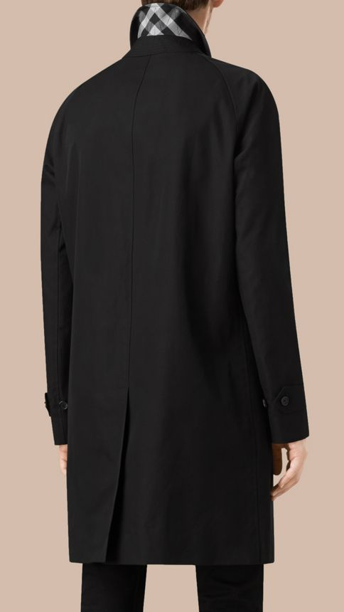 Black Long Cotton Gabardine Car Coat Black - Image 3