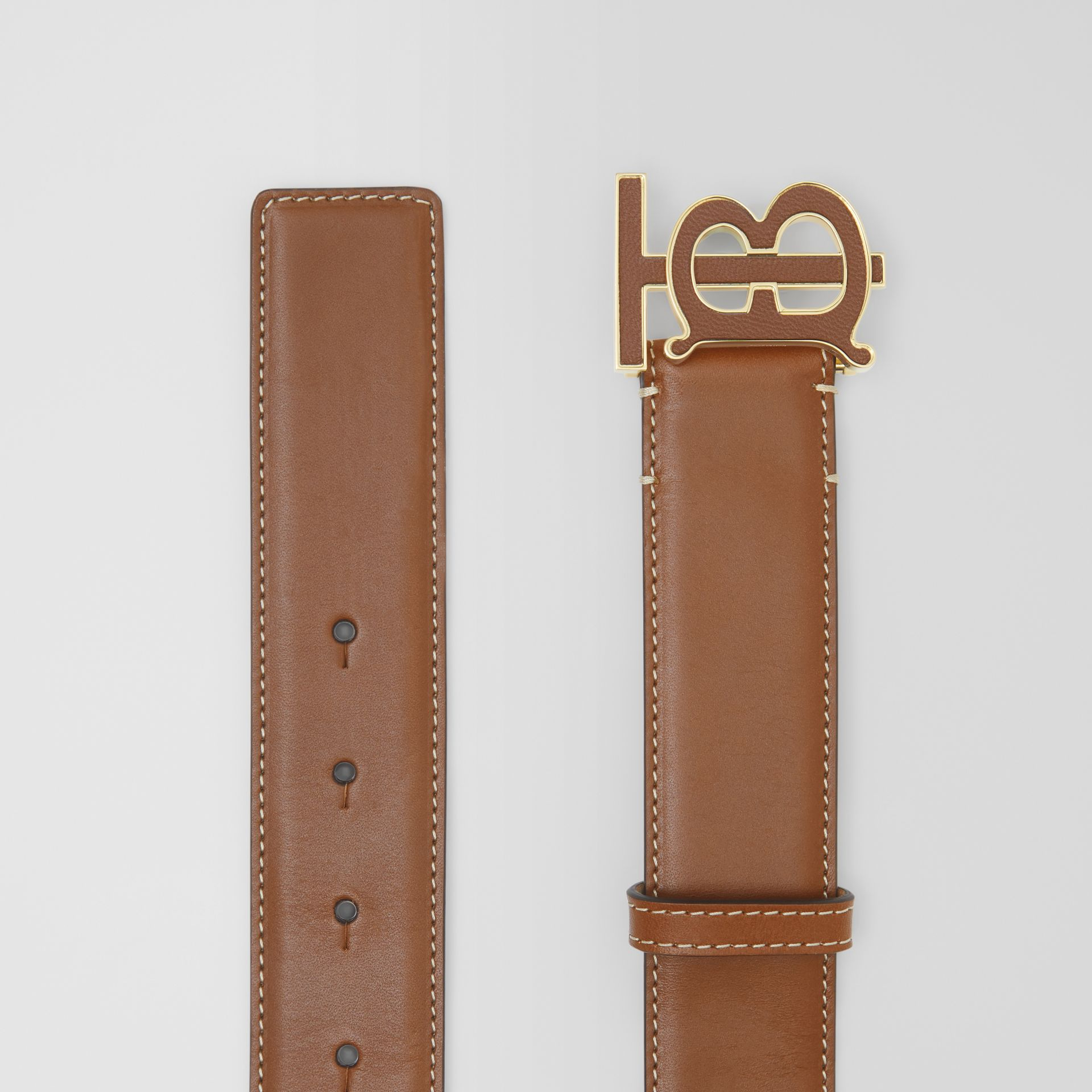 Monogram Motif Leather Belt in Tan - Women | Burberry Canada - gallery image 5