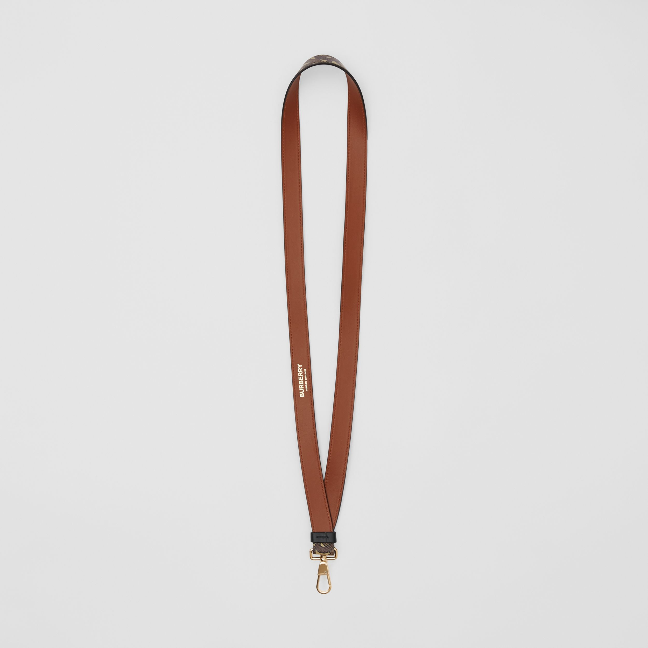 Monogram Print E-canvas and Leather Lanyard in Bridle Brown - Men | Burberry - 4