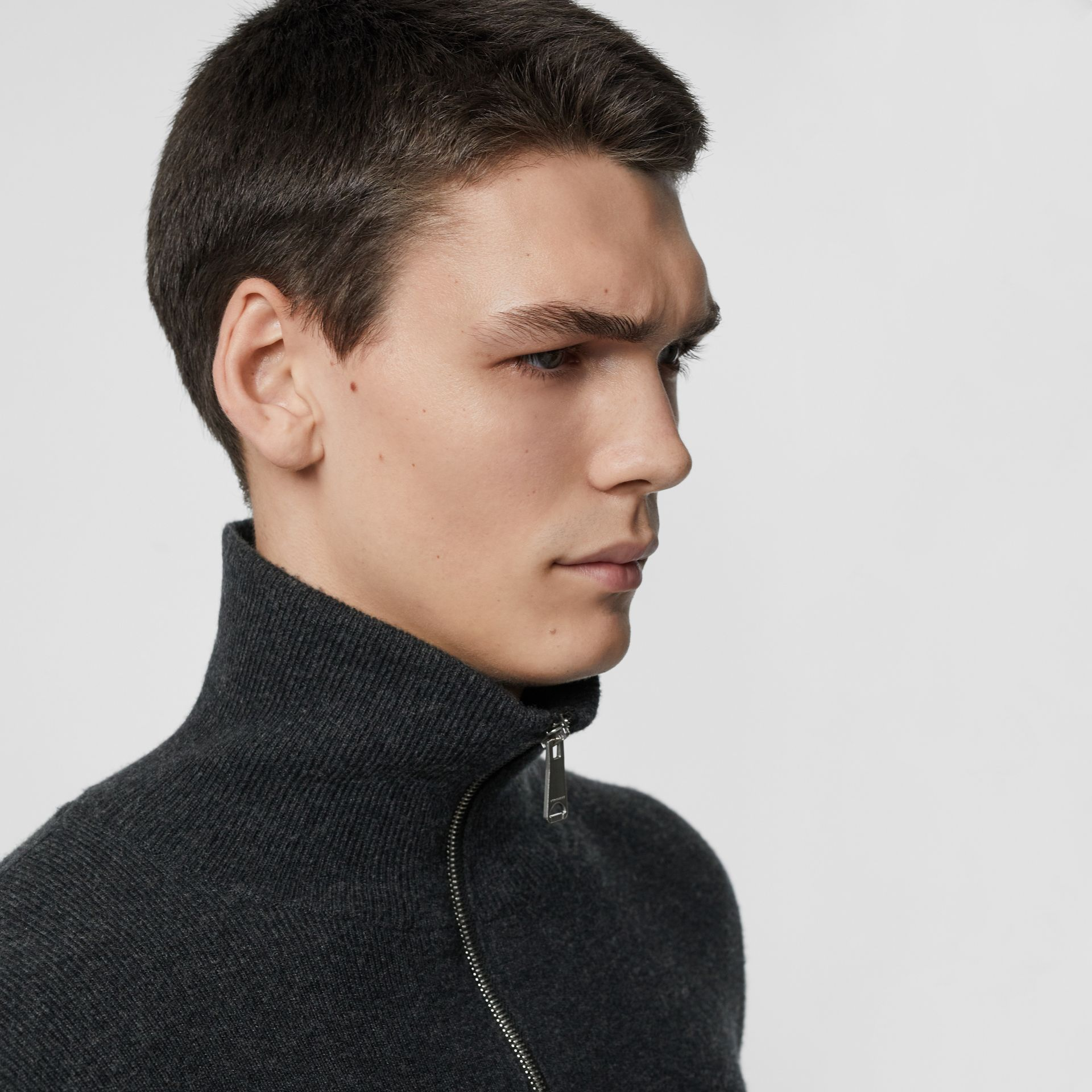 Rib Knit Cashmere Half-zip Sweater in Charcoal Melange - Men | Burberry - gallery image 1