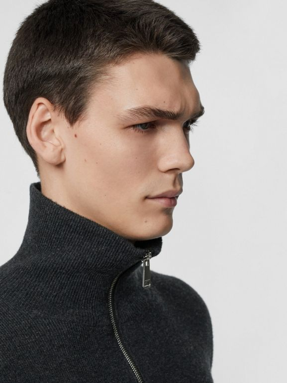 Rib Knit Cashmere Half-zip Sweater in Charcoal Melange - Men | Burberry United Kingdom - cell image 1