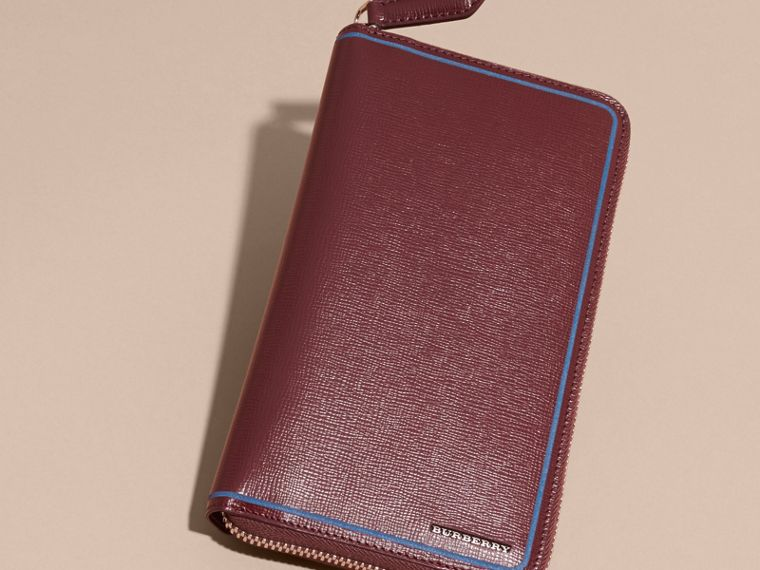 Burgundy red Border Detail London Leather Ziparound Wallet Burgundy Red - cell image 4