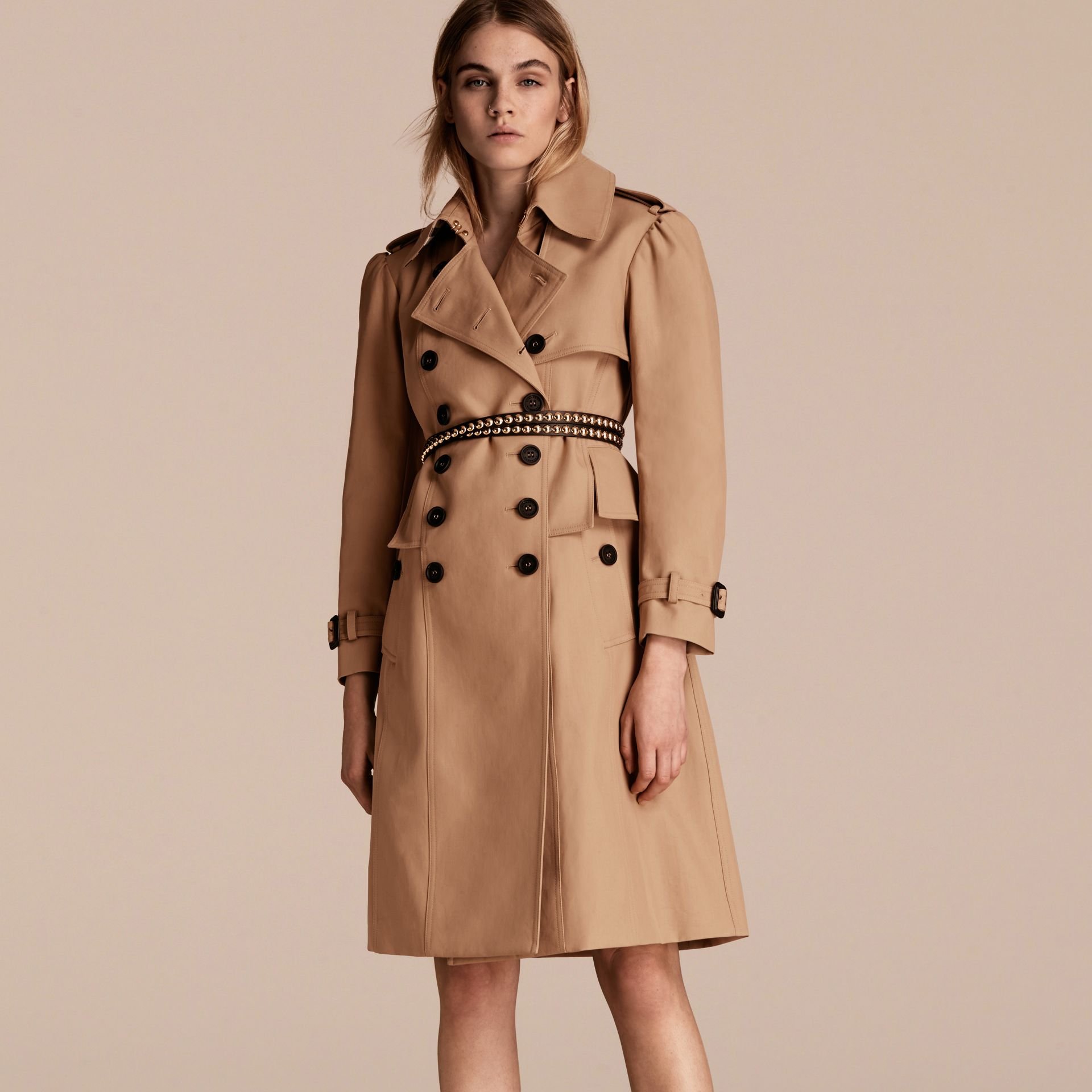 Honey Cotton Gabardine Trench Coat with Notched Waist - gallery image 7