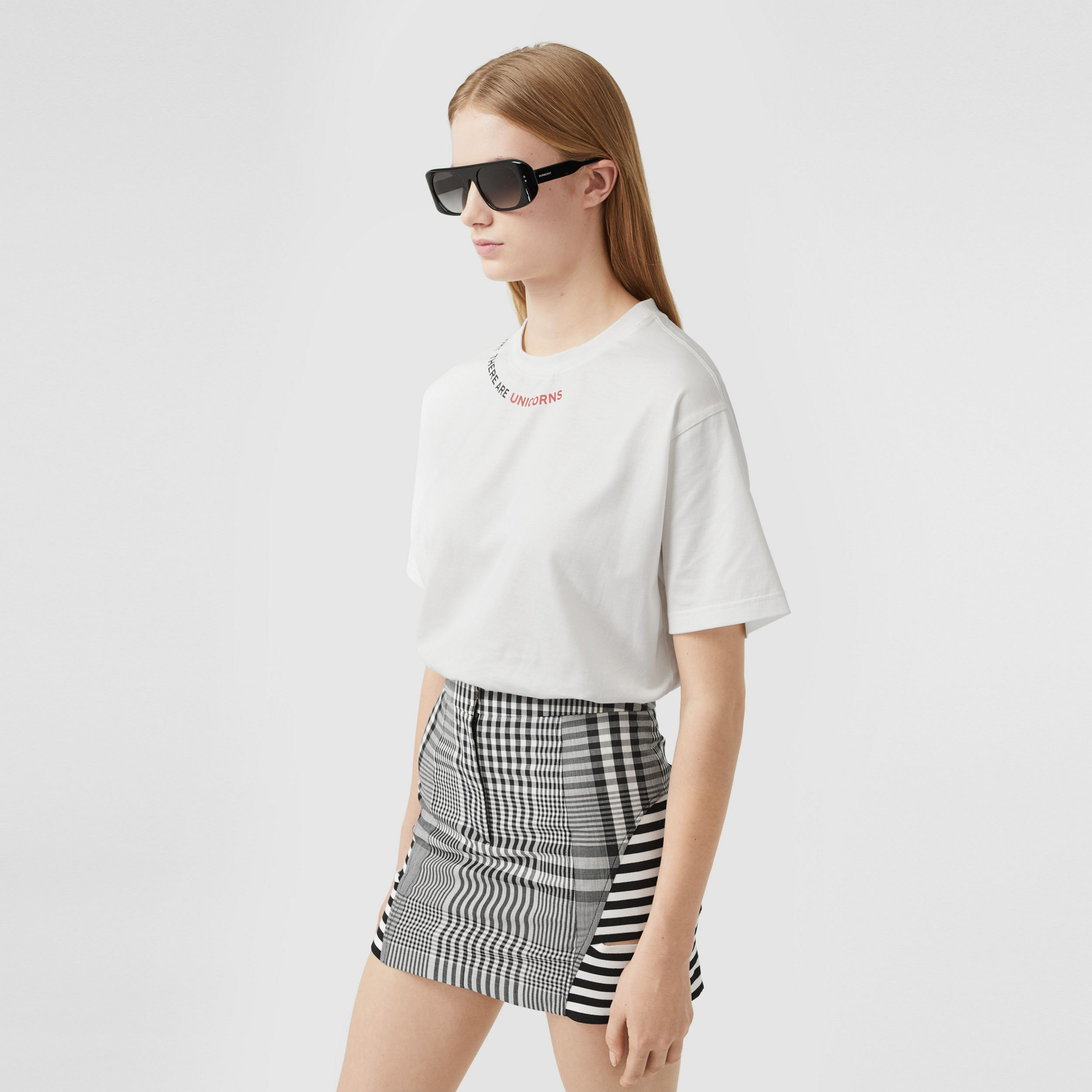 Quote Print Cotton Oversized T-shirt in White - Women | Burberry - 1