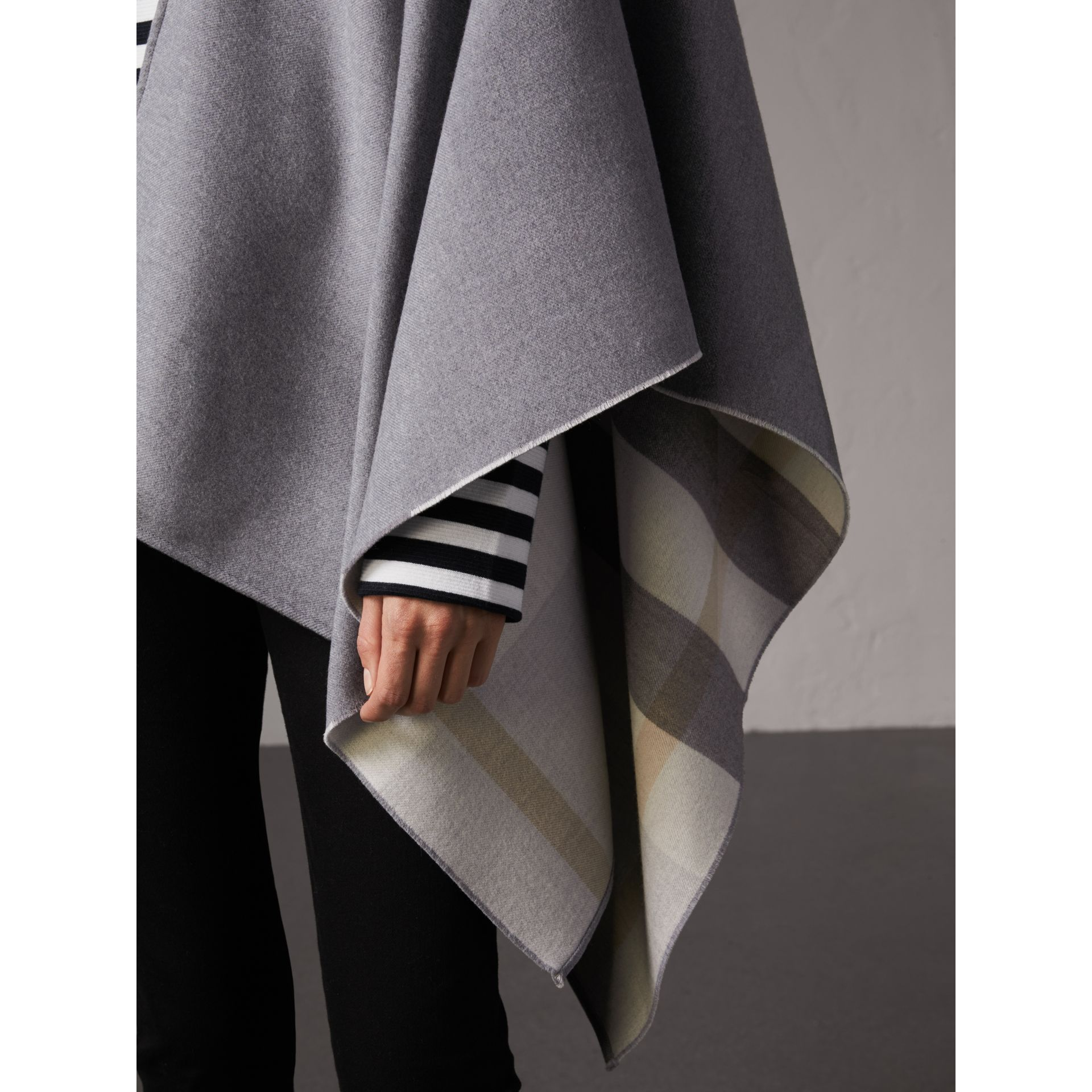 Reversible Check Merino Wool Poncho in Light Grey - Women | Burberry - gallery image 2