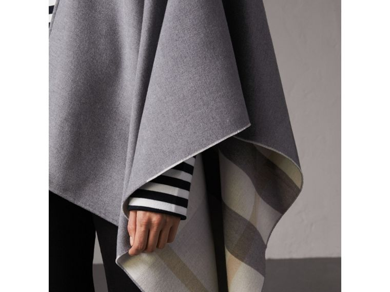 Reversible Check Merino Wool Poncho in Light Grey - Women | Burberry - cell image 1