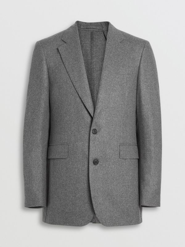 Classic Fit Wool Cashmere Tailored Jacket in Mid Grey Melange - Men | Burberry - cell image 3