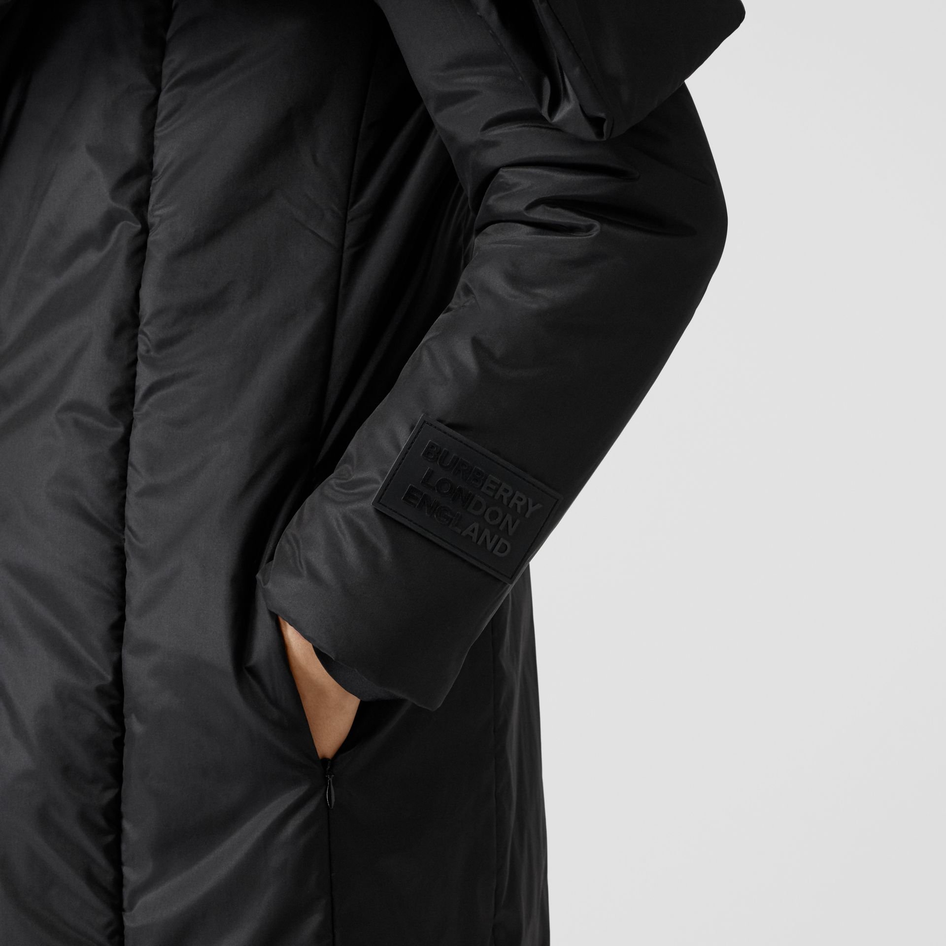 Cape Detail Silk Blend Wrap Coat in Black - Women | Burberry Singapore - gallery image 4