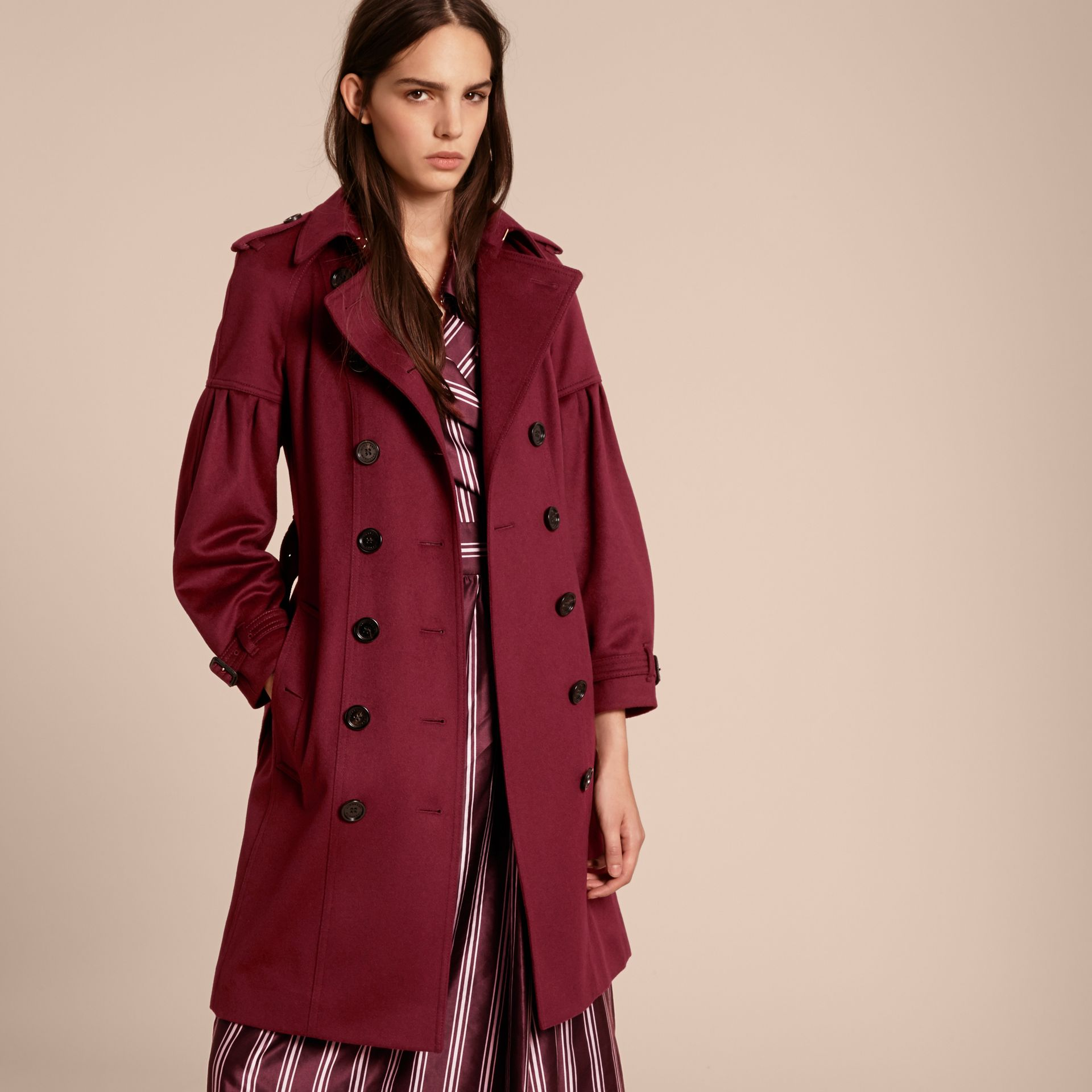 Burgundy Cashmere Trench Coat with Puff Sleeves Burgundy - gallery image 7