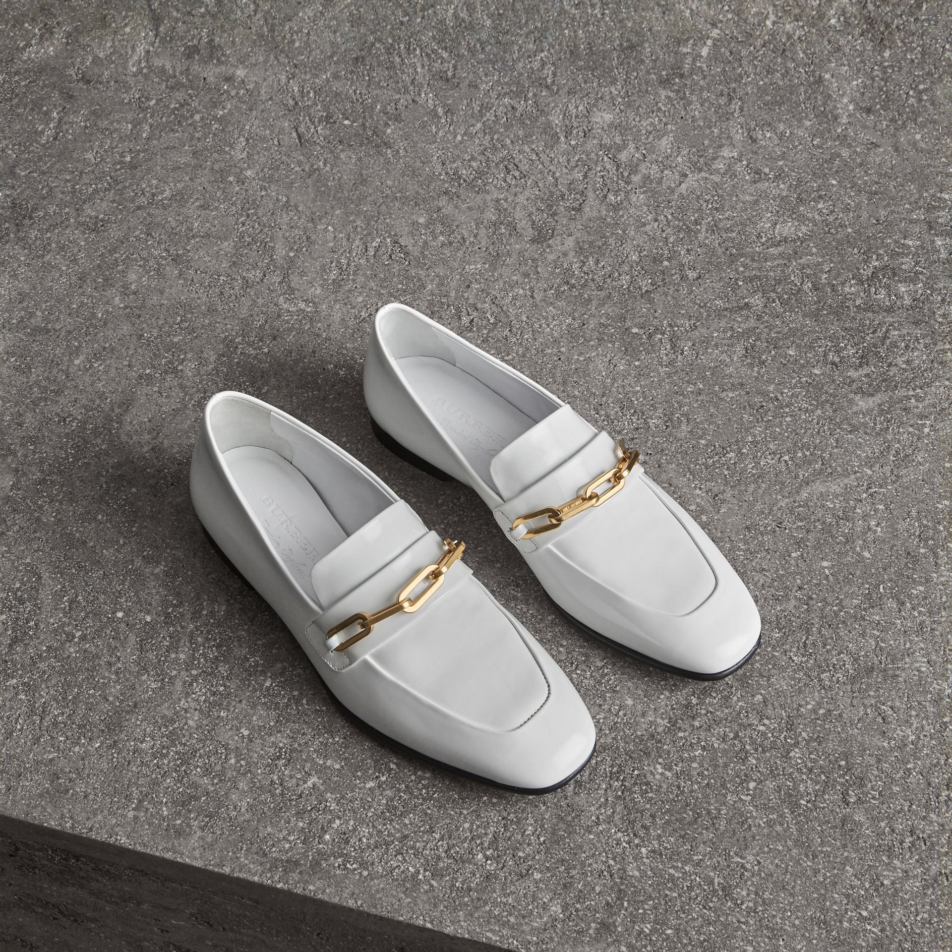 Link Detail Patent Leather Loafers in Optic White - Women | Burberry - gallery image 0