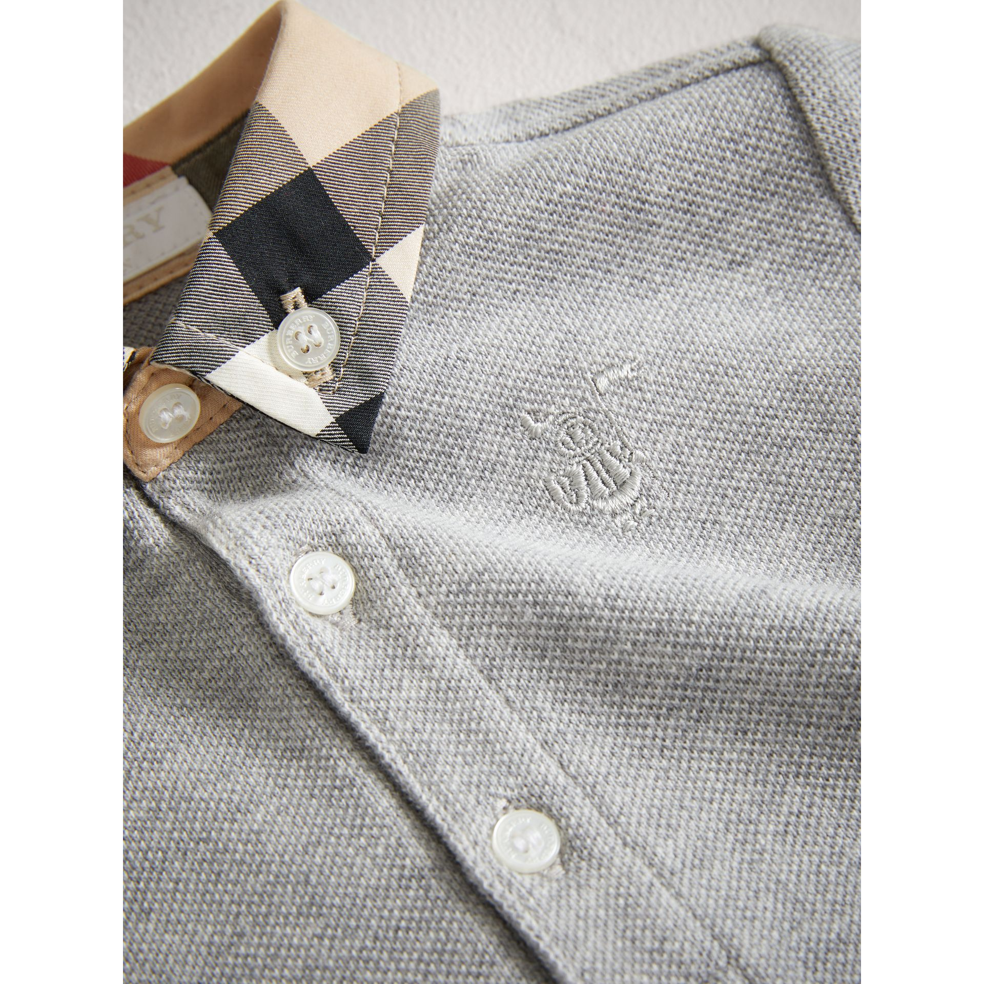 Check Collar Cotton Polo Shirt in Pale Grey Melange | Burberry - gallery image 1