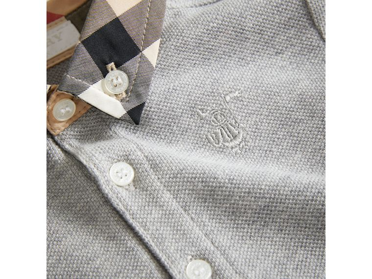 Check Collar Cotton Polo Shirt in Pale Grey Melange | Burberry United States - cell image 1