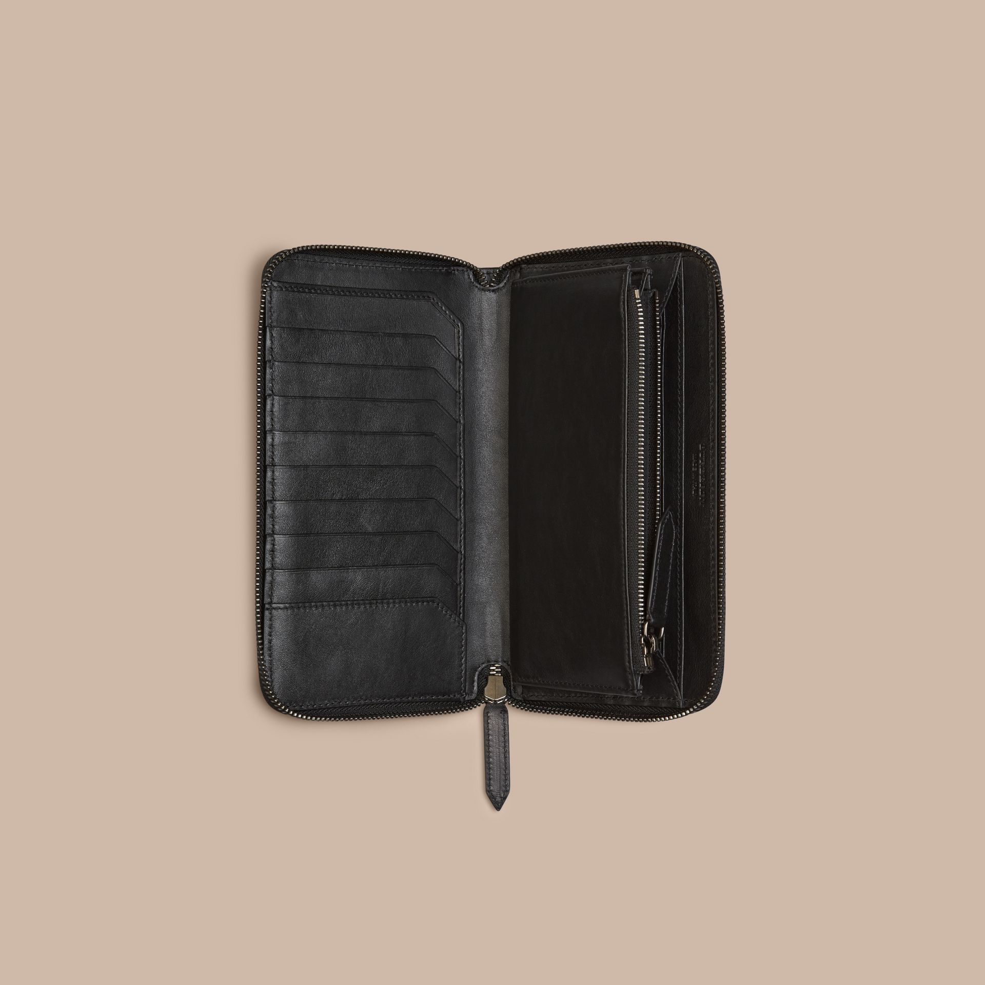 Horseferry Check Ziparound Wallet in Charcoal/black - gallery image 4