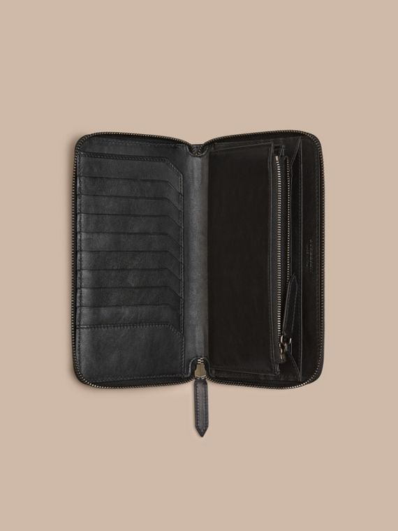 Horseferry Check Ziparound Wallet in Charcoal/black - cell image 3