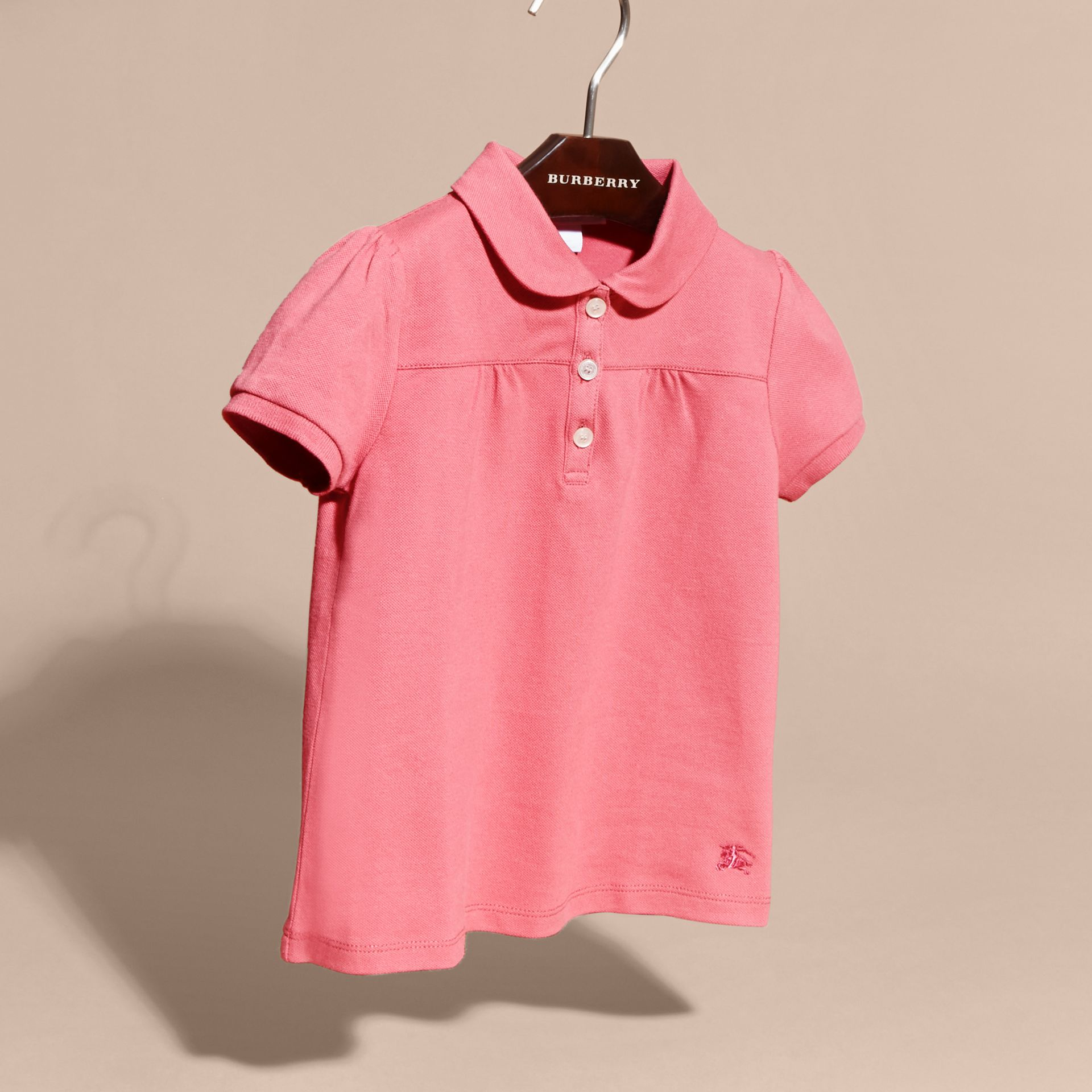 Ruched Detail Stretch Cotton Polo Shirt Pink Azalea - gallery image 3