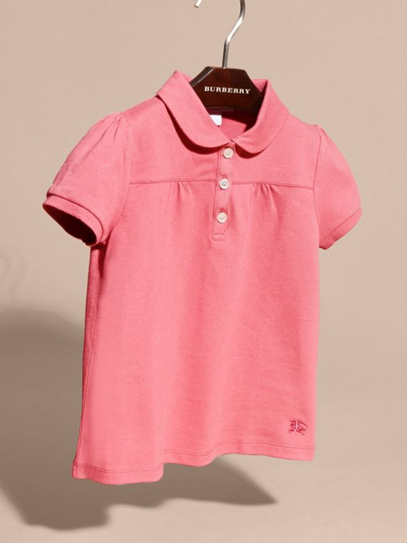 Ruched Detail Stretch Cotton Polo Shirt Pink Azalea - cell image 2