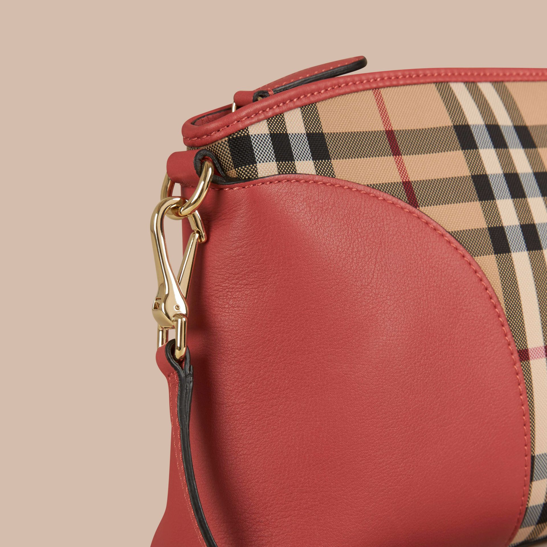 Horseferry Check and Leather Clutch Bag in Honey/antique Rose - gallery image 7