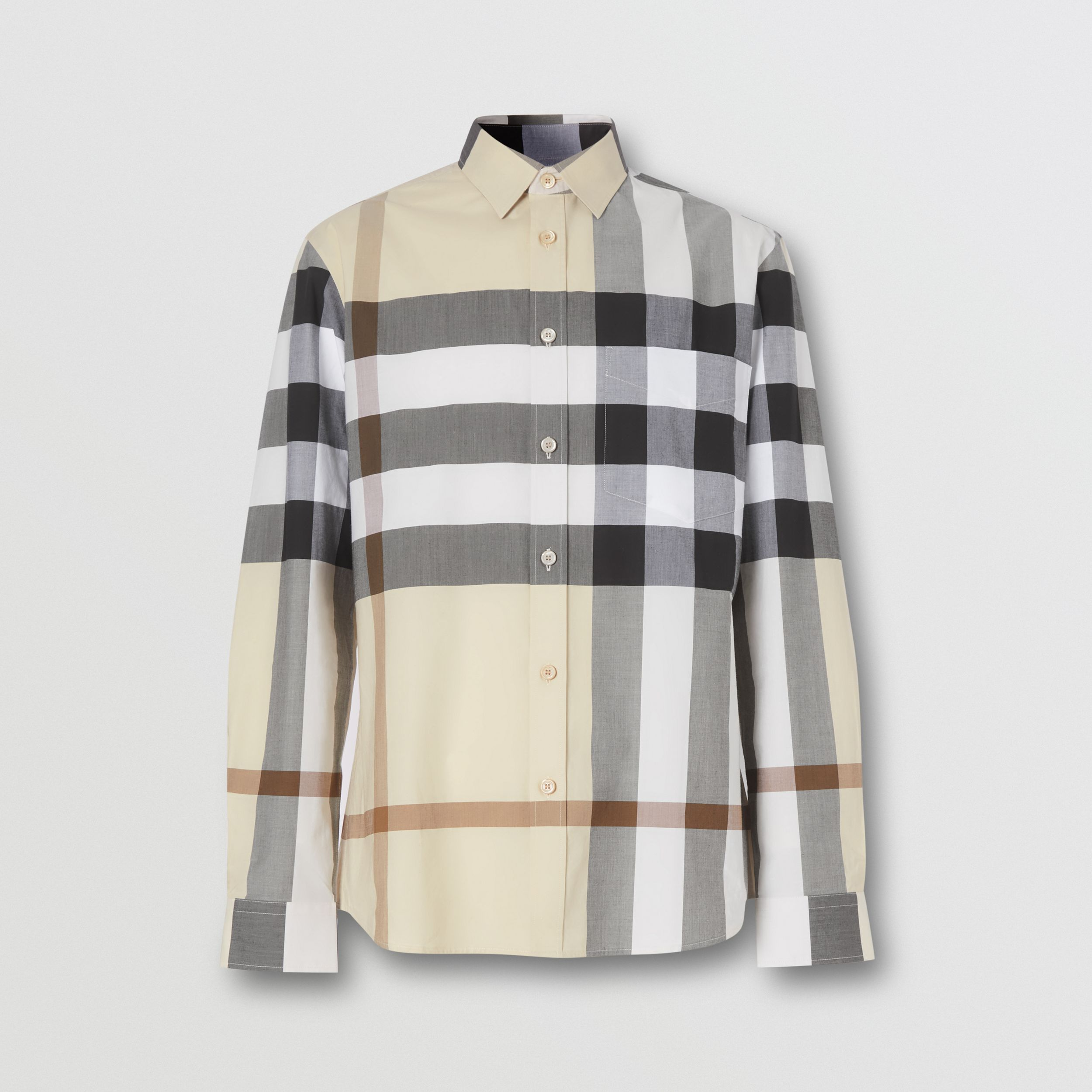 Check Stretch Cotton Poplin Shirt in Modern Beige - Men | Burberry - 4