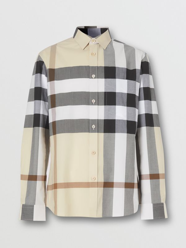 Check Stretch Cotton Poplin Shirt in Modern Beige - Men | Burberry United Kingdom - cell image 3