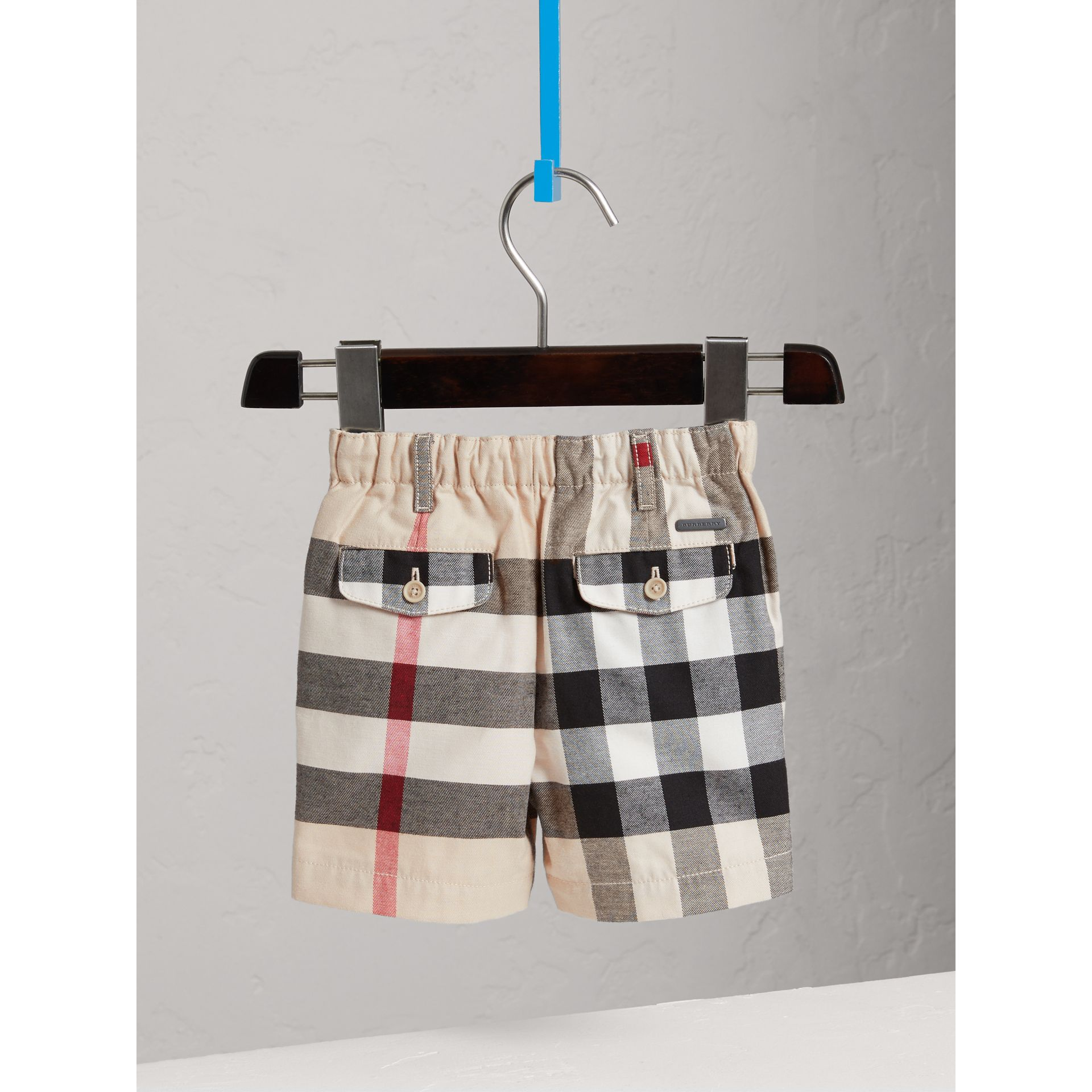 Check Cotton Chino Shorts in Stone | Burberry United States - gallery image 3