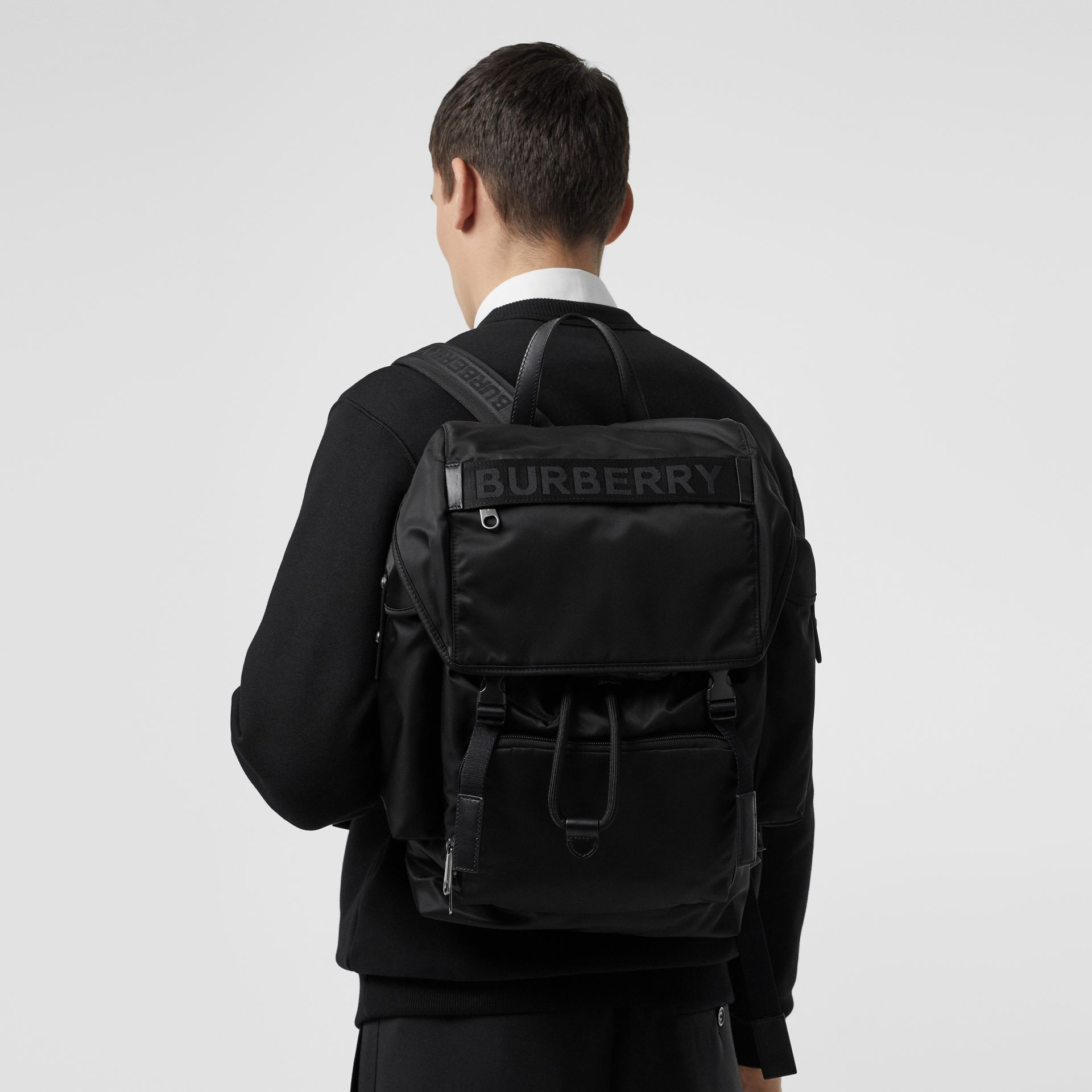 Large Leather Trim Nylon Backpack in Black | Burberry - gallery image 6