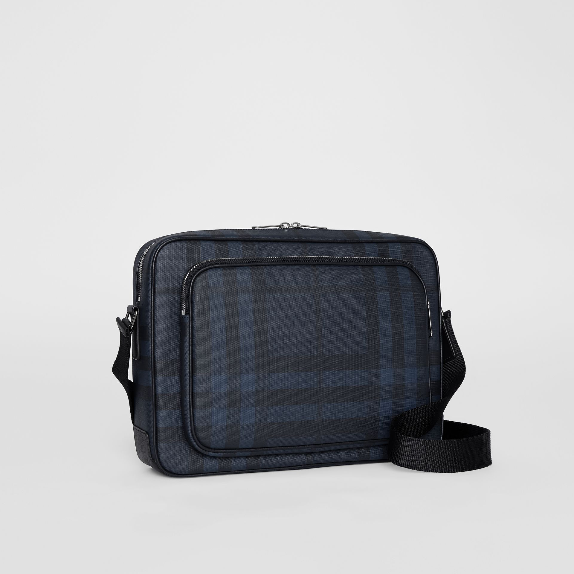 London Check Messenger Bag in Navy/black - Men | Burberry United Kingdom - gallery image 7