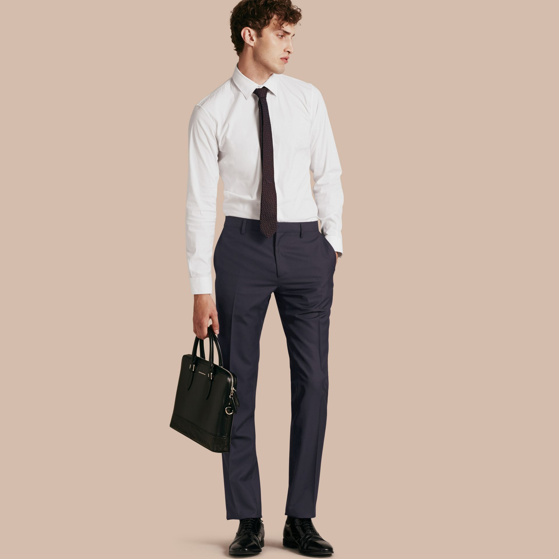 Navy Modern Fit Wool Trousers Navy - gallery image 1