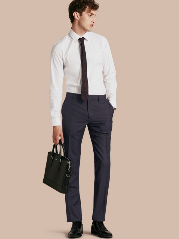 Modern Fit Wool Trousers Navy