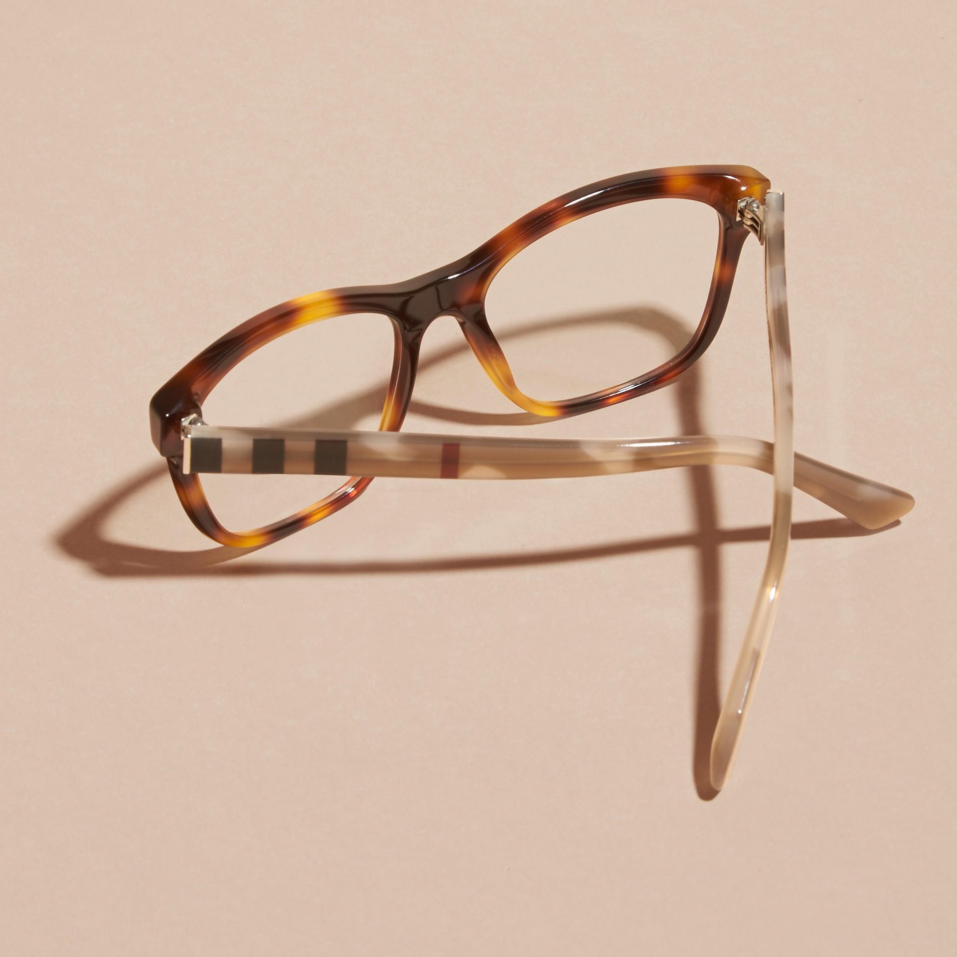 Monture carrée à motif check pour lunettes de vue (Brun Roux Clair) - Femme | Burberry - photo de la galerie 4
