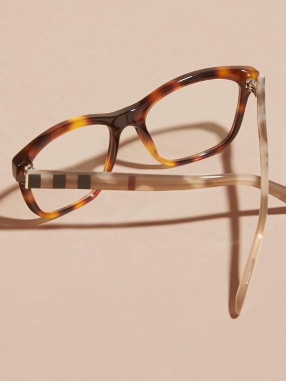 Monture carrée à motif check pour lunettes de vue (Brun Roux Clair) - Femme | Burberry - cell image 3