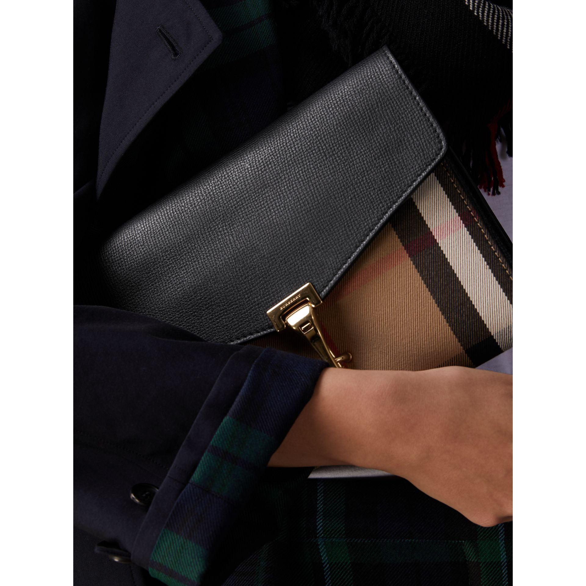 Small Leather and House Check Crossbody Bag in Black - Women | Burberry - gallery image 3