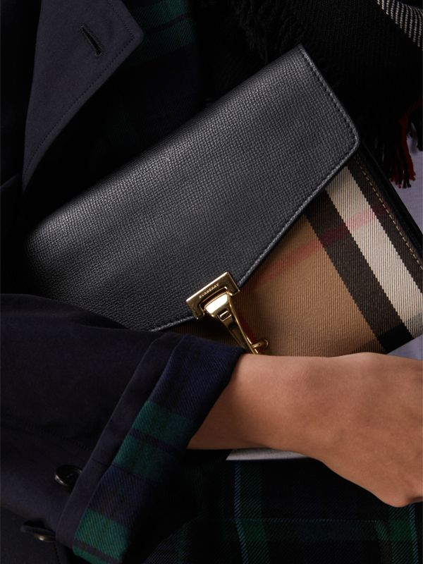 Small Leather and House Check Crossbody Bag in Black - Women | Burberry Singapore - cell image 3