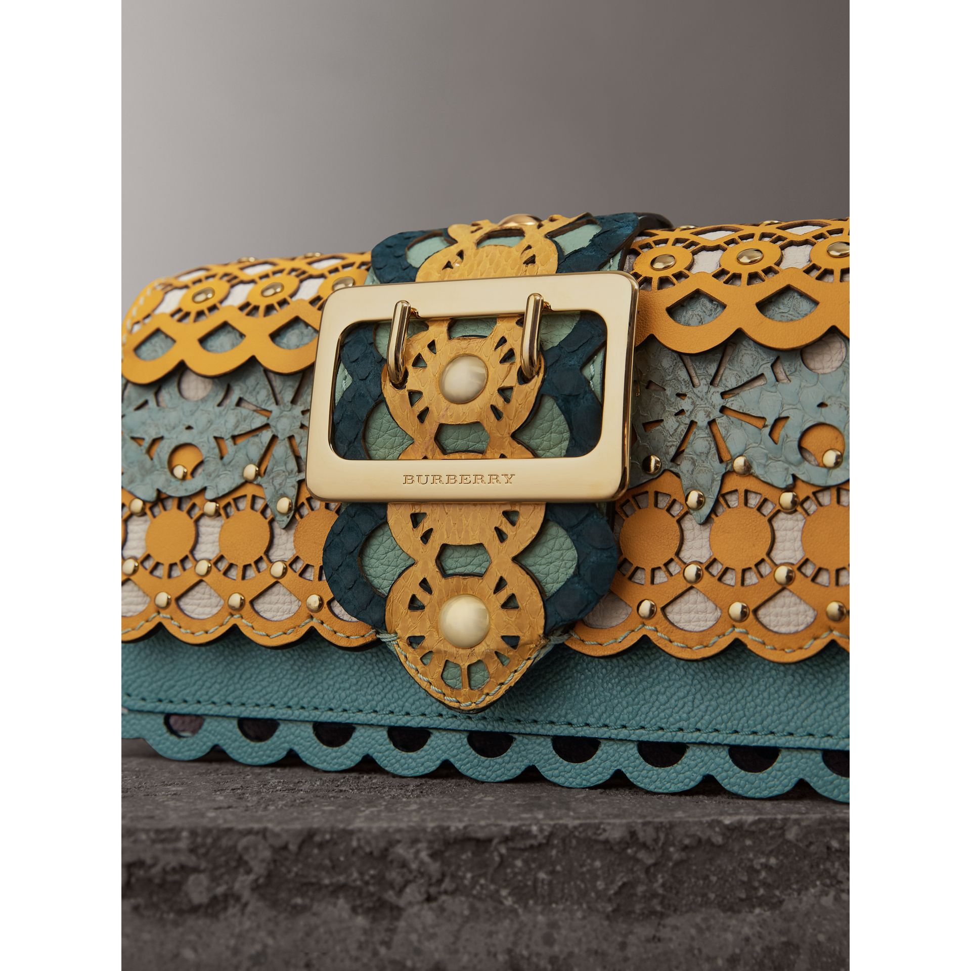 The Small Buckle Bag in Laser-cut Leather and Snakeskin in Celadon Blue - Women | Burberry - gallery image 2