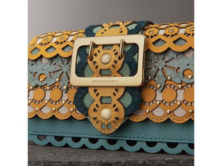 The Small Buckle Bag in Laser-cut Leather and Snakeskin in Celadon Blue - Women | Burberry - cell image 1