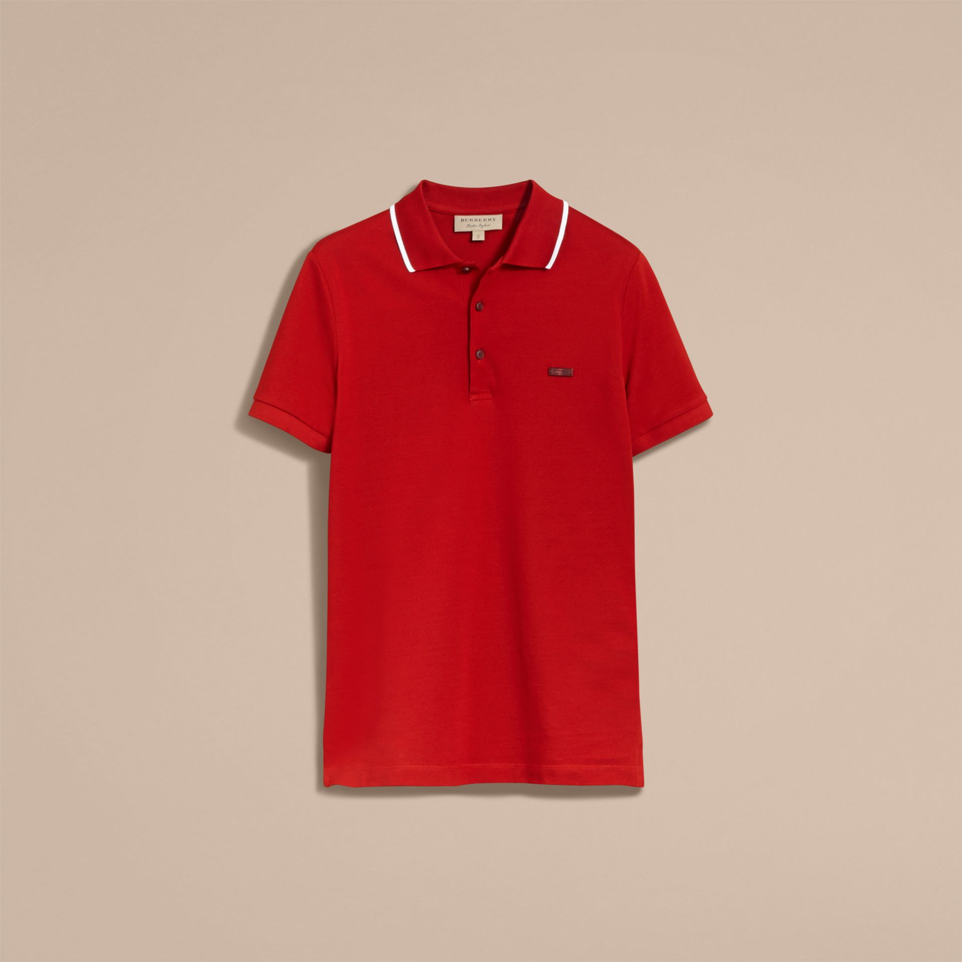 Tipped Collar Cotton Piqué Polo Shirt Military Red - gallery image 4