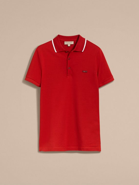 Tipped Collar Cotton Piqué Polo Shirt Military Red - cell image 3