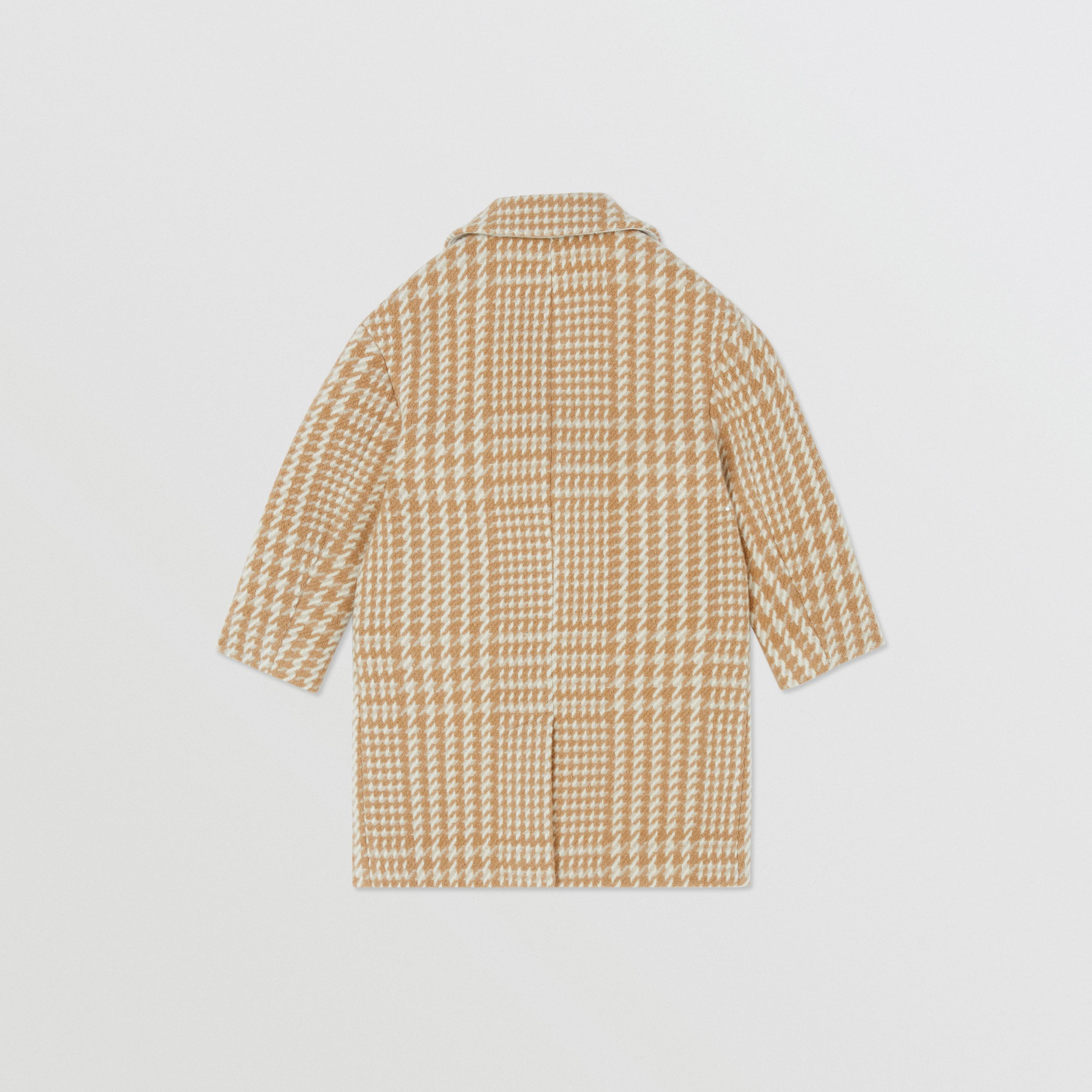 Houndstooth Check Technical Wool Coat in Camel | Burberry - 4
