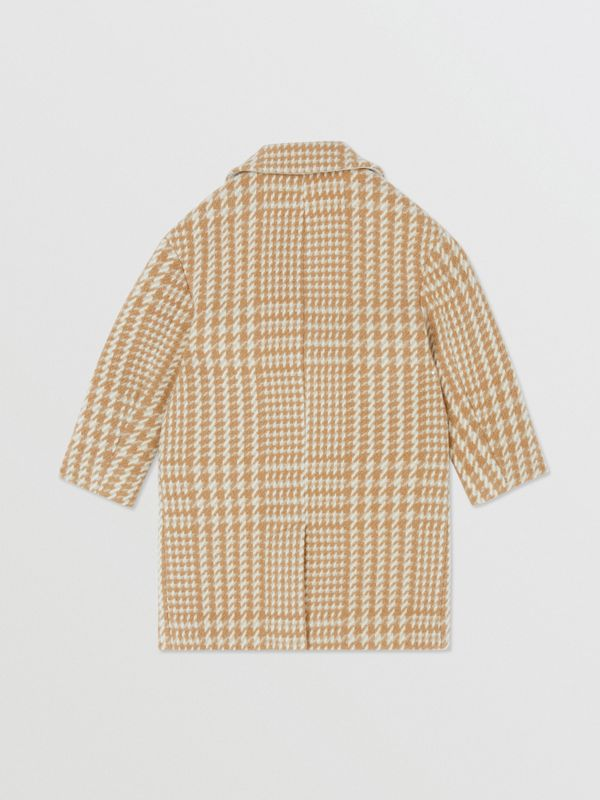 Houndstooth Check Technical Wool Coat in Camel | Burberry - cell image 3