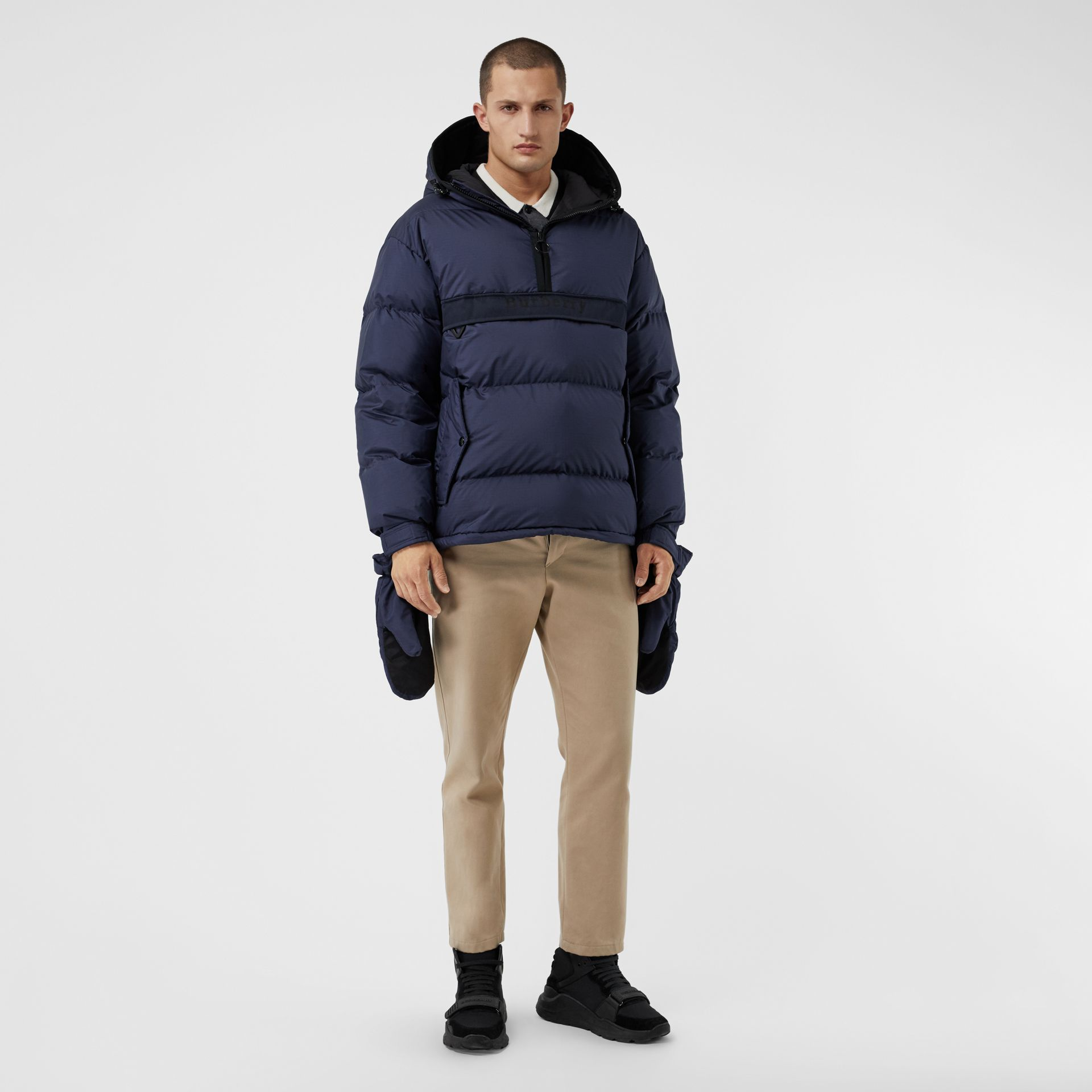 Down-filled Anorak with Detachable Mittens in Ink - Men | Burberry United Kingdom - gallery image 0