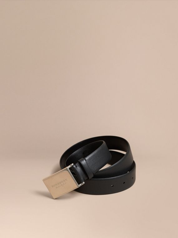 London Leather Belt with Plaque Buckle Black