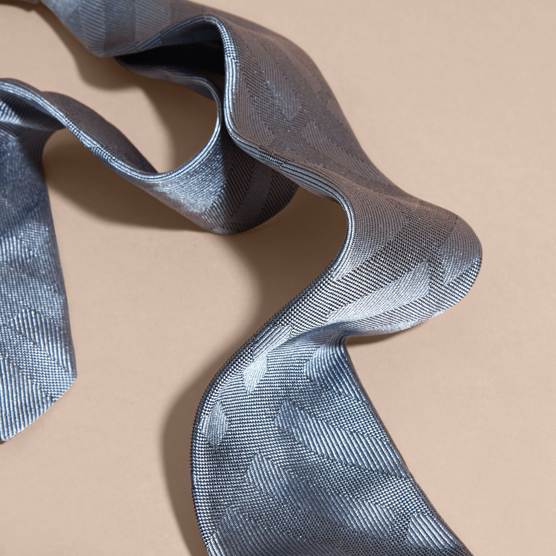 Light blue Slim Cut Check Silk Tie Light Blue - gallery image 2