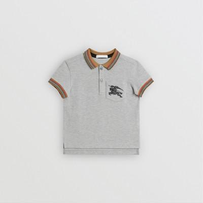 Icon Stripe Detail Cotton Polo Shirt by Burberry