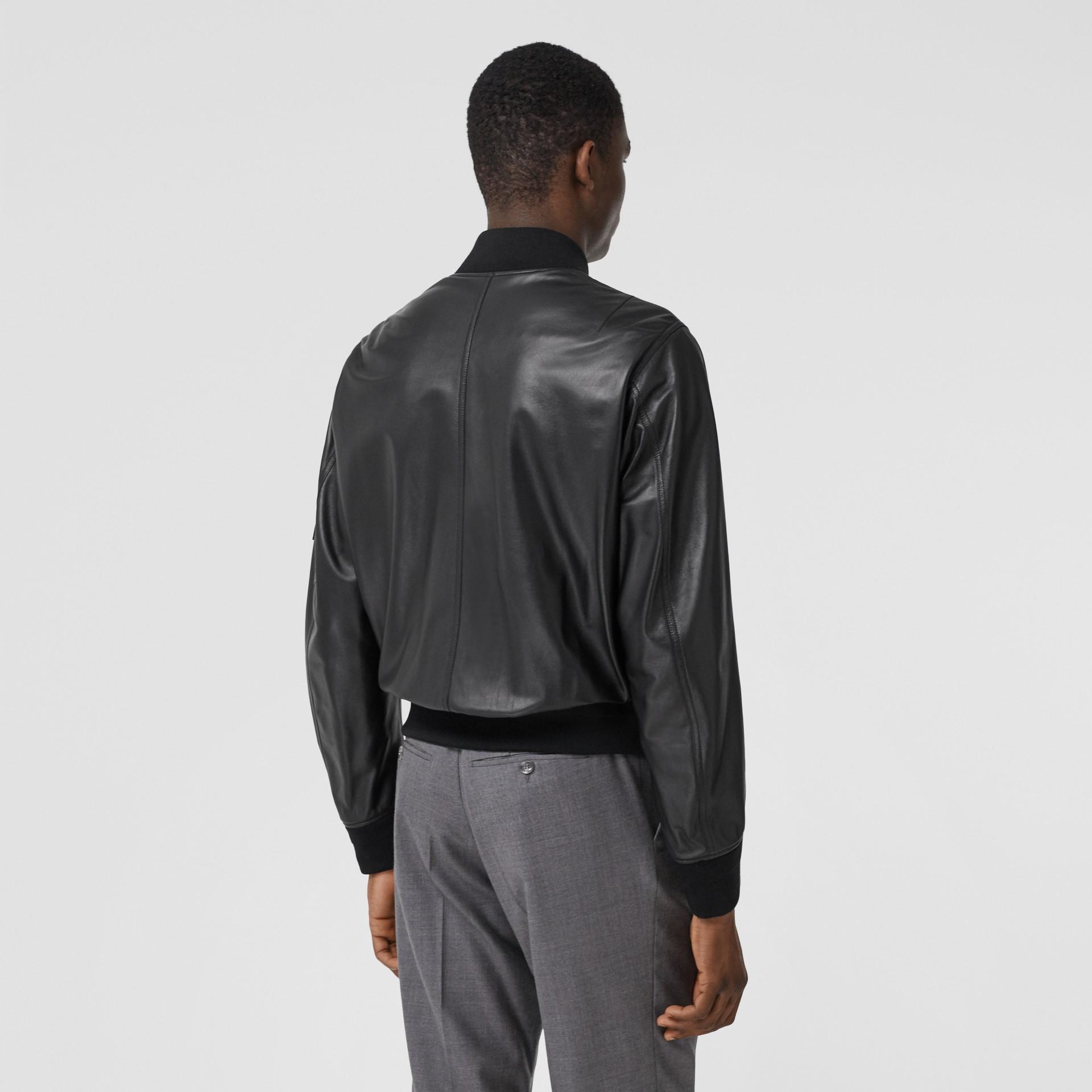 Lambskin Bomber Jacket in Black - Men | Burberry - gallery image 2