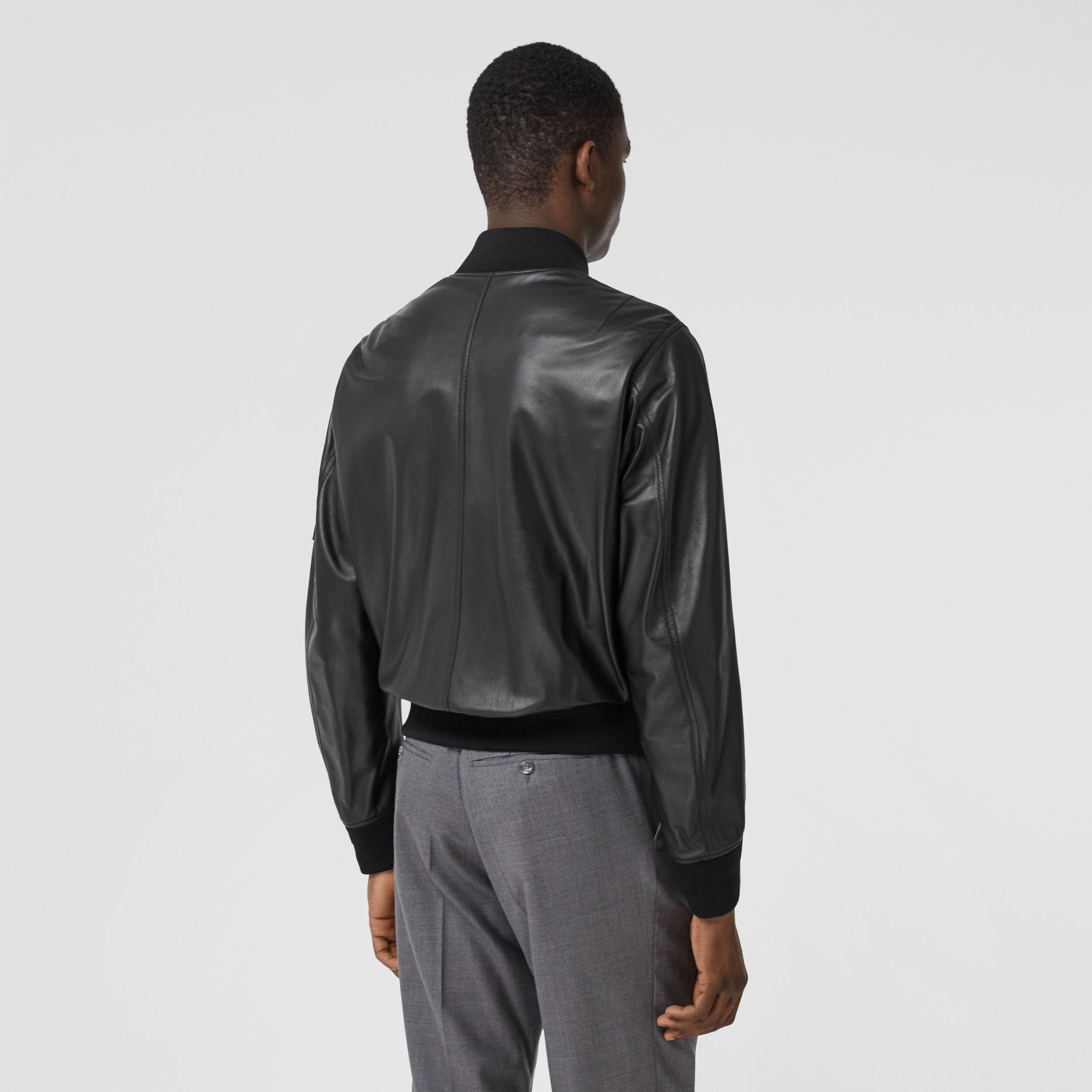 Lambskin Bomber Jacket in Black - Men | Burberry - 3