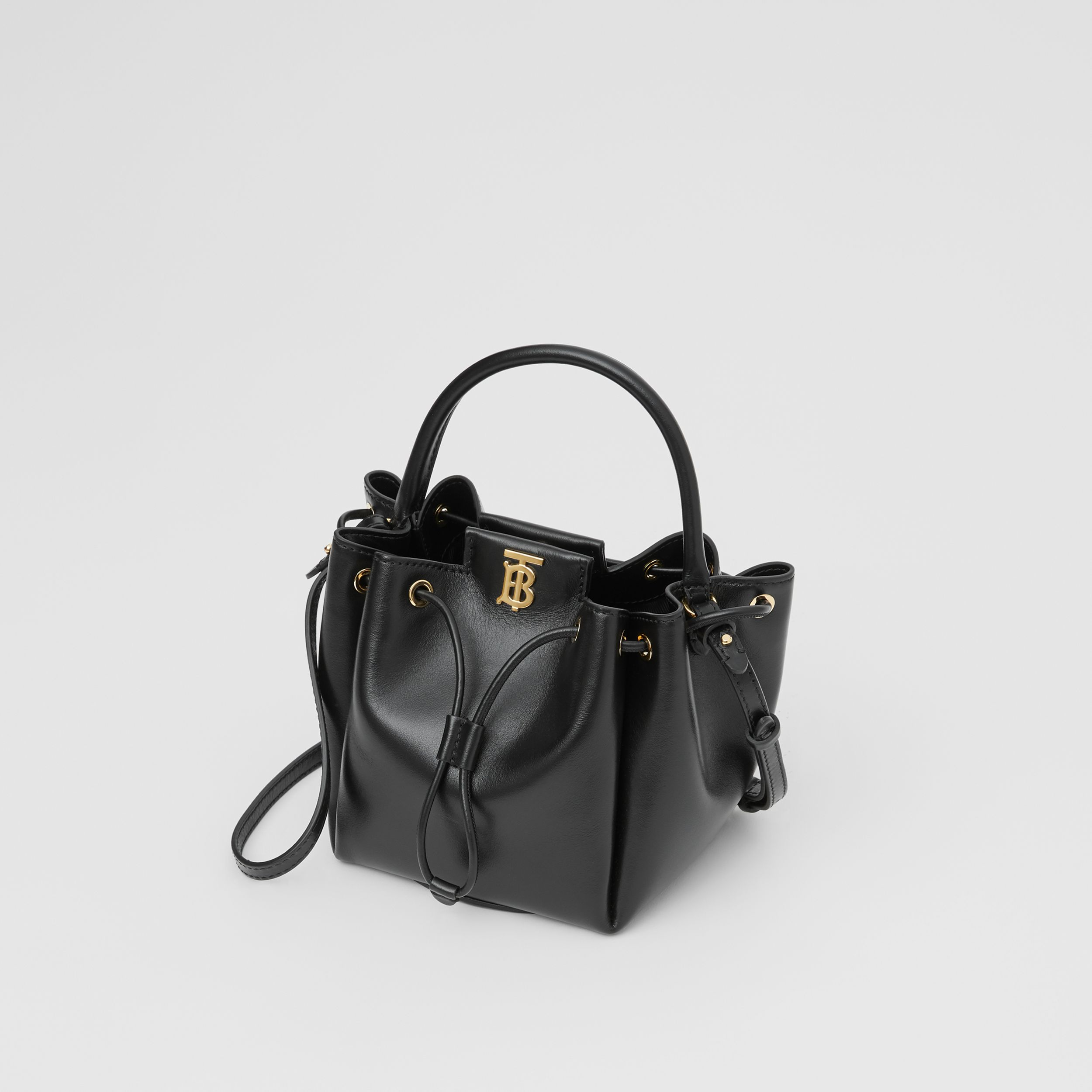 Monogram Motif Leather Bucket Bag in Black - Women | Burberry United States - 4
