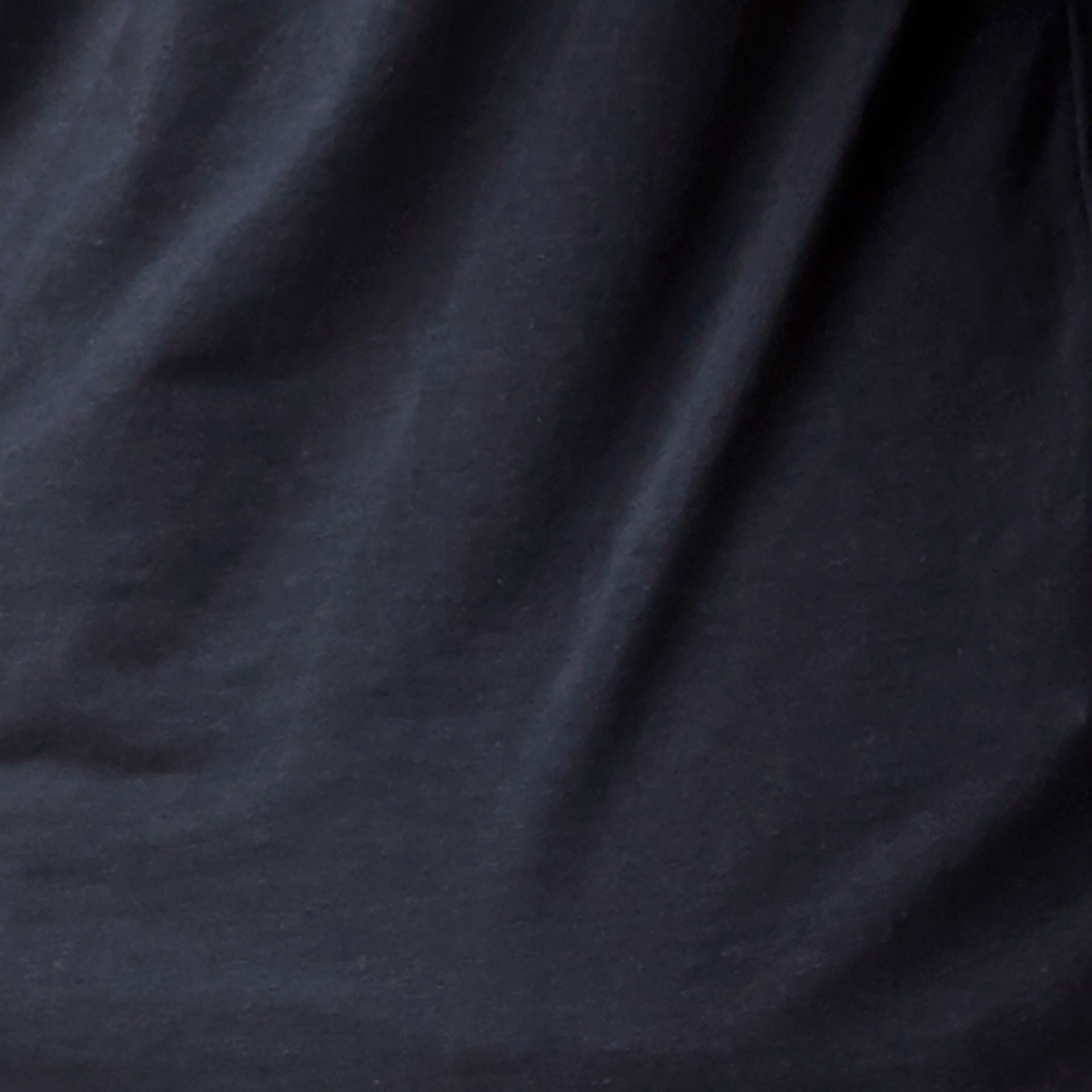 Check Cuff Stretch Cotton T-Shirt Navy - gallery image 2