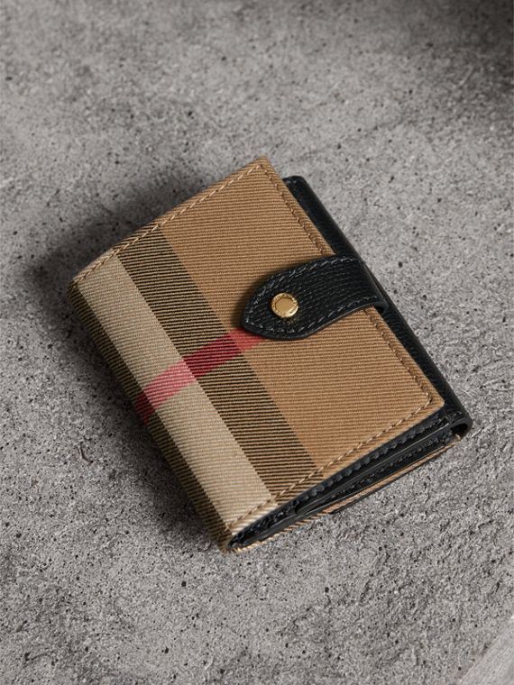 House Check and Leather Wallet in Black - Women | Burberry Singapore - cell image 3