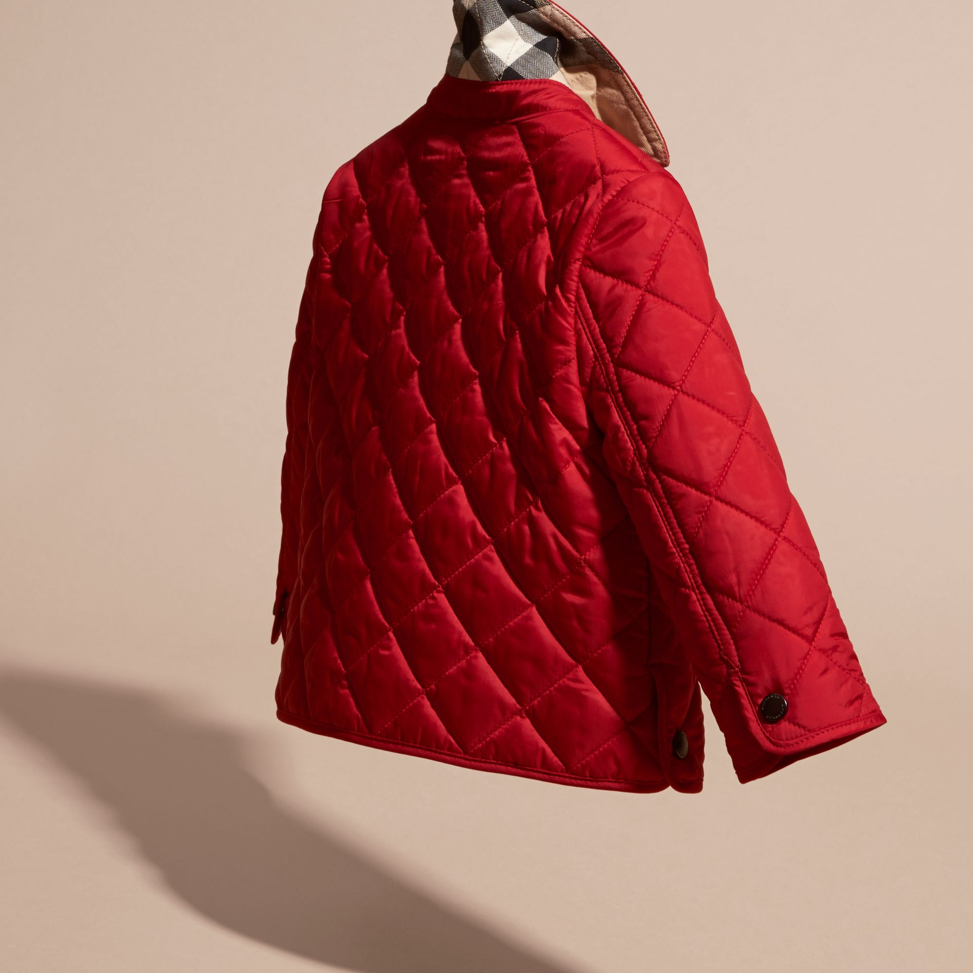 Lightweight Quilted Jacket Bright Cherry Red - gallery image 4